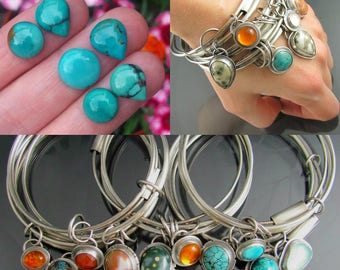 sterling silver turquoise gemstone bangle - bangle set - silver bangle - bangle trio - chunky bangle - boho jewelry