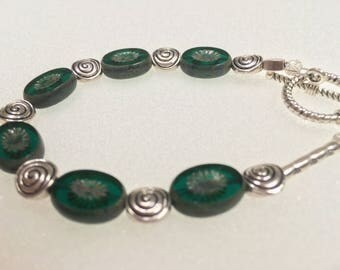 Green Glass Bead Bracelet with Silver Accents and Toggle