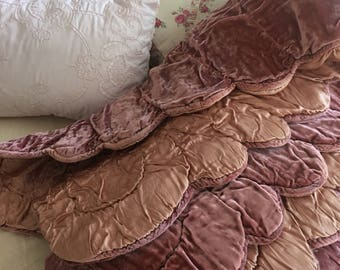 Gorgeous Velvet And Satin Quilt ~ Hand Stitched Small Spread ~ Victorian Bedding ~ Heavy Vintage Throw ~ Shabby Chic ~ Old Fine Linens ~