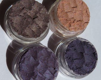 4 Piece Set Vegan Mineral Makeup Gift - Fan Favorite! Purple Eye Shadows/ Cafe Shimmer/Camelot - Bride's Makeup gift set