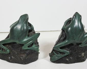 Pair of Vintage Art Deco Style Cast Iron Metal Tree Frog Toad Bookends