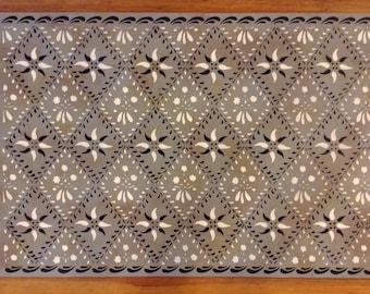 Custom Canvas Floorcloth - Wayside Inn Design - Black and Ivory on Mottled Puritan Gray - Area Rug - Made to Order Custom Sizes