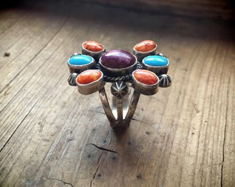 Spiny Oyster Turquiose Ring Women's Size 7.5, Native American Indian Ring, Wife Gift