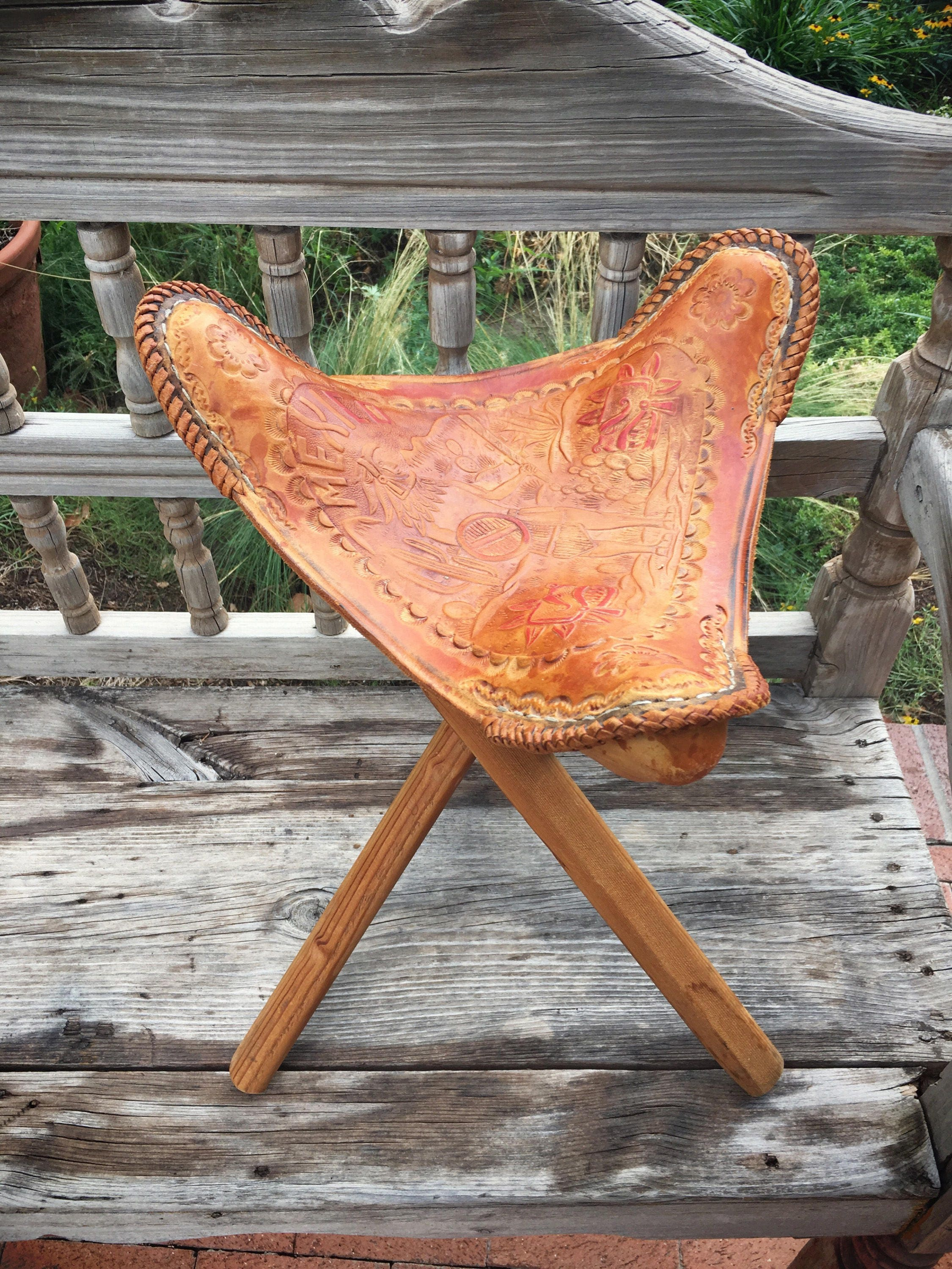 Vintage Mexican Tooled Leather Tripod Saddle Stool Folding