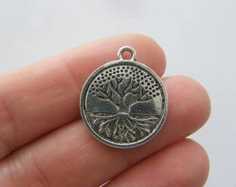 8 Tree charms antique silver tone T93