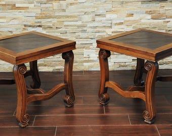 Pair Mid Century End Tables-Slate Top Scroll Wood Vintage Tables-Slate Tables