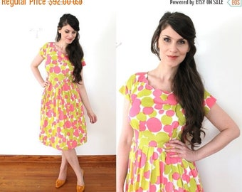 ON SALE 50s Dress / 1950s Pink and Chartreuse Bubble Polka Dot  Dress