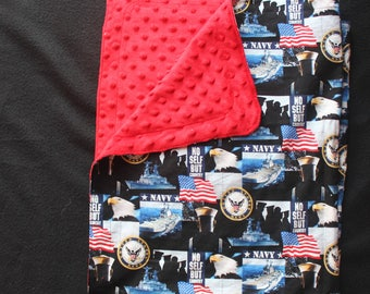 Navy  fabric and Red minky---+ custom sewing of the fabrics for a blanket