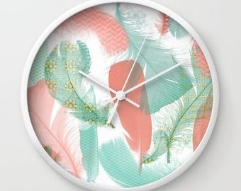 WALL CLOCK - Peach and Turquoise Feathers design - home decor - colorful housewares - pretty feathers