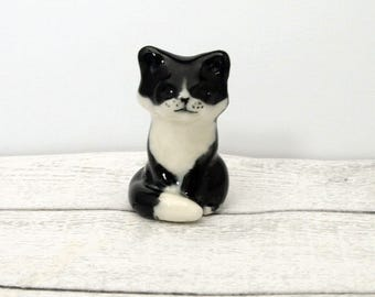 Porcelain Miniature ceramic Tuxedo cat figurine hand crafted Australian pottery