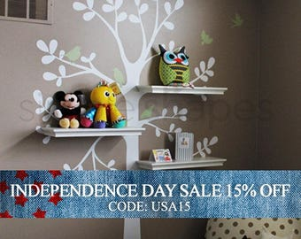 Independence Day Sale - Wall Decals Baby Nursery Decor: Shelving Tree Decal with Birds - Original Wall Decal