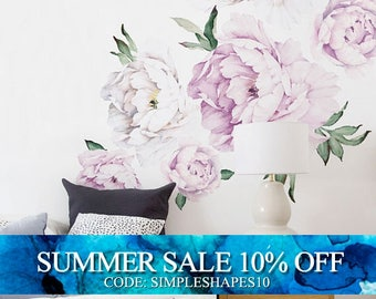 Easter Sale - Peony Flowers Wall Sticker, Vintage Lilac Watercolor Peony Wall Stickers - Peel and Stick Removable Stickers