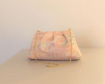 Wedding Purse with vintage OBI gold brocade silk KYOTO Landscape pastel pink gold ivory pink hand bag ready to ship