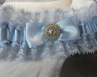Blue Satin and Lace Garter