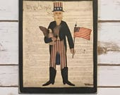 Uncle Sam Folk Art, Americana,Independence Day,Patriotic Sign,Wall Art