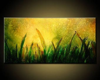 ORIGINAL Textured Landscape Abstract Painting Modern Abstract art Contemporary Landscape painting by Henry Parsinia 48x24
