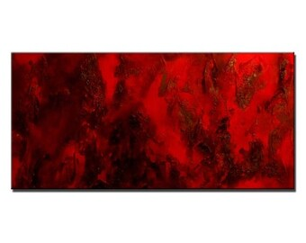 Original Modern Textured Red Abstract Painting by Henry Parsinia 48x24