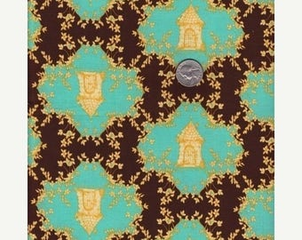 last call Tina Givens-Opal Owl,  TRELLIS in Chocolate  1/2 yd total