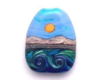 3D Waves Handmade Lampwork Glass Bead Focal - Textured