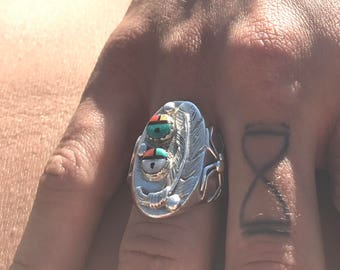 Vintage Zuni Double Sun Inlay Spider Cup  Sterling Silver Ring