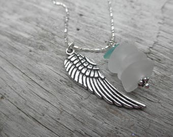 Angel Wing and Glass Necklace Lake Erie Beach Glass Ohio