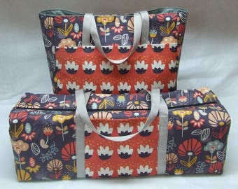 Tote with Accessory Bag for the Cricut Maker / Cricut Explore Air / Explore Air 2 / Silhouette Cameo 3 / Kaleidoscope Flower Bloom Print