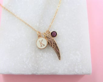 Mothers Day Gift, Angel Wing Necklace, Personalized Angel Wing, Birthstone Necklace, Necklace, Gift for Her, Dainty Necklace, Birthday Gift
