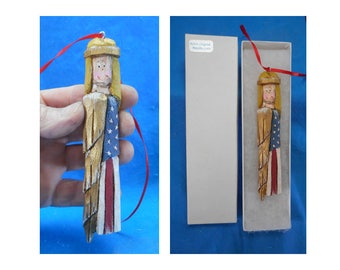 Wooden Patriotic Angel Ornament #17164