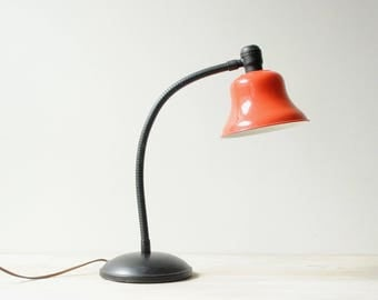 Vintage Desk Lamp, Gooseneck Lamp with Red Shade