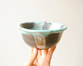 Vintage Handmade Pottery Bowl, Turquoise and Black Bowl, Studio Pottery