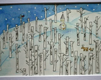 Winter landscape original watercolor. blue and white, pen and ink, birch trees, snow, Vermont, woods, lines, simple, whimsical