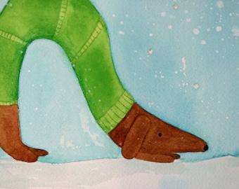 Children's art, nursery art, original watercolor painting, dachshund, wiener dog, inch worm, green sweater, dog in snow, brown dog, matted