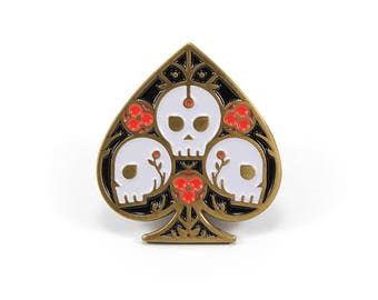 Ace of Spades - Soft Enamel Pin w/ Black Rubber Pin Clutch