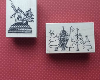 Set of Two - Christmas Trees and House Stamps