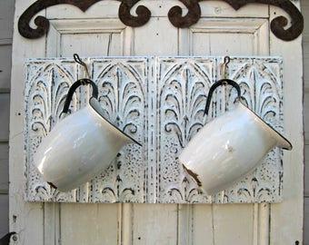 Coat Towel Bathroom Rack. Kitchen Hooks. Antique Tin Ceiling Tile,  Architectural salvage. Key rack.