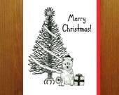 Merry Christmas Shiba Inu Puppy and Tree Greeting Card