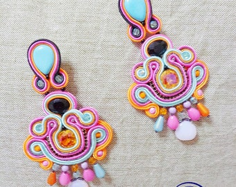 Multicolor boho earrings, Soutache Earrings, chandeliers, fiber art jewellery, bohemian gipsy earrings, folk sicily earrings, made in italy