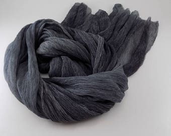 Handmade Silk Scarf / Melange --- Dark Gray