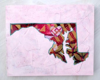 Maryland State mixed media original painting in Pinks and Reds 8x10