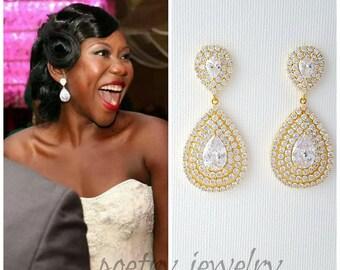 Gold Bridal Earrings, Wedding Jewelry, Large Bridal Earrings, CZ Teardrop Earrings, Gold Bridal Jewelry, Gold Wedding Earrings, Etta