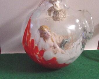 Vintage German Mermaid inside of a hand blown Glass Globe