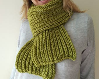 Lime green knit scarf, Extra long knit scarf in beight green,  Warm knitted scarf.
