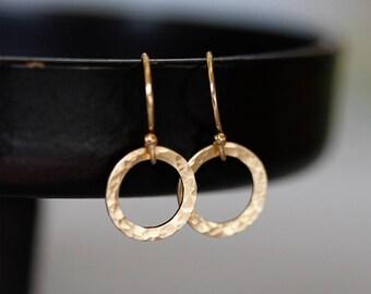 Dainty Minimalist Earrings, Tiny Circles Earrings, Gold Tiny Hammered Earrings, Gold Filled Hoop Earrings