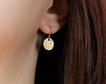 Tiny Gold Earrings, Minimal Earrings, Everyday Dainty Earrings, Dangle Earrings, Gold Filled Smooth or Hammered Discs