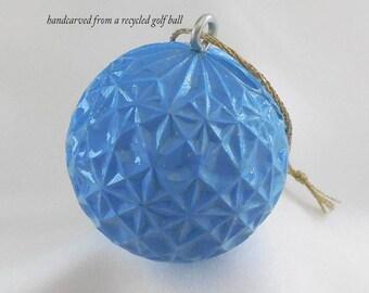 Golf Gift, Carved Golf Ball, Blue Christmas Ornament for Men or Women Golfer