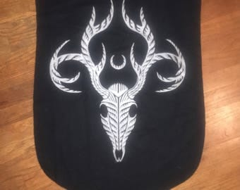 Lunar Stag Banner In Silver On Black