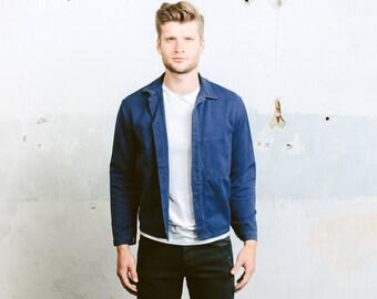 Men's WORK JACKET . Indigo Blue Chore Coat Indigo Blue Vintage Jacket French Style 80s Sanfor Workwear Overshirt . size Medium