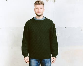 Mens Fishermen Sweater . Chunky Knit Oversized Sweater Vintage 80s Clothing  Wool Sweater Pullover Green Sweater . size Large