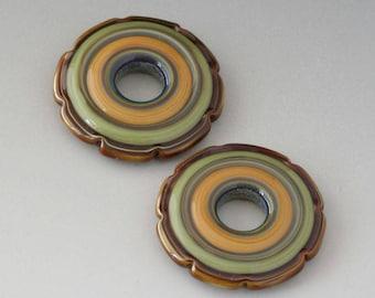 Ruffle Discs - (2) Handmade Lampwork Beads - Green, Brown