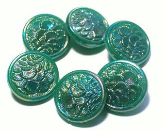 6 Beautiful Green Glass Vintage Buttons 19mm AB Luster Set of Collectible Buttons